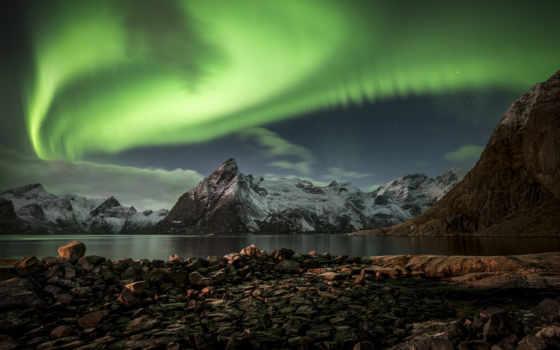 северное, сияние, норвегия