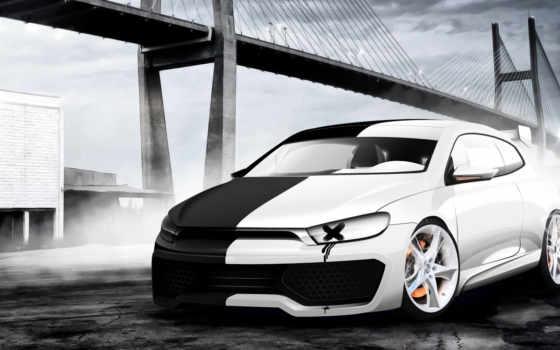 scirocco, volkswagen, white, клипарт, автомобили, чёрно, авто, растровый,