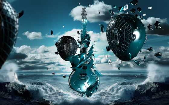 rock, музыка, гитара, waves, море,