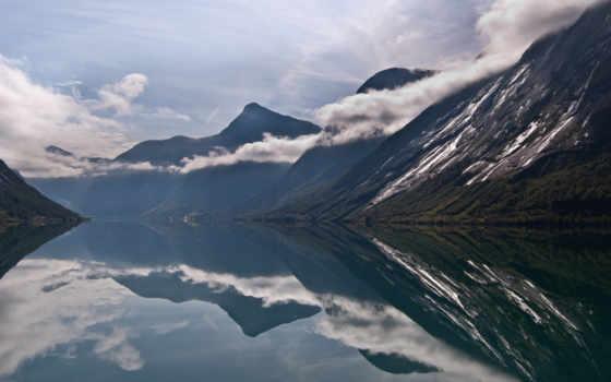 norwegian, горы, норвегия, озеро, oblaka, река, фоны, отражение,