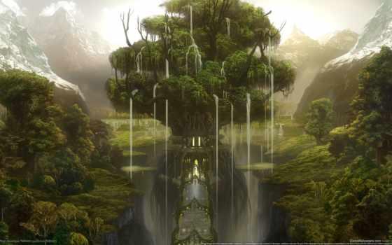 fantasy, лес, горы, castle, house, игры, замки,