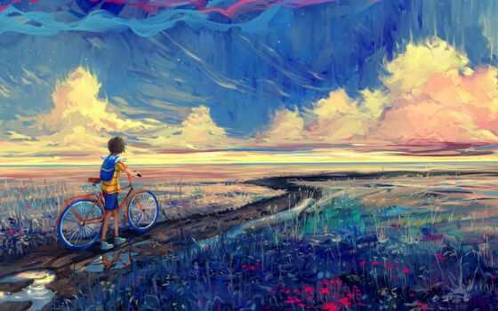 арта, велосипед, impressionism, дождь, пейзаж, les, быть, дерево, dozhdlivyi, leto, art