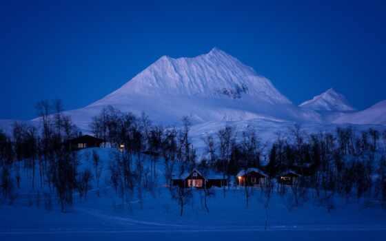 снег, гора, дерево, winter, norwegian, природа, landscape, вечер