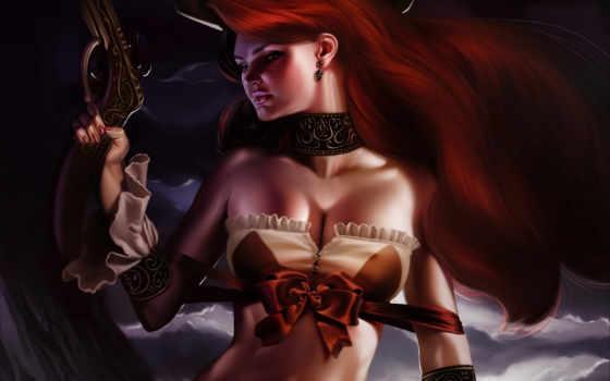 девушка, рыжая, revolver