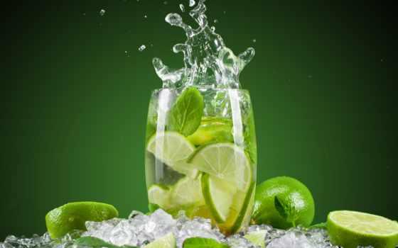 фрукты, лед, glass, мохито, коктейль, лайм, цитрус, water,