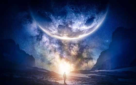 небо, звездное, мужчина, урок, автор, mountains, planet,