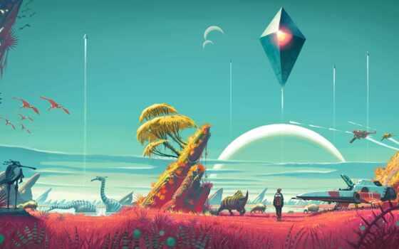 небо, мужчина, game, растение, planet, farming, spaceship