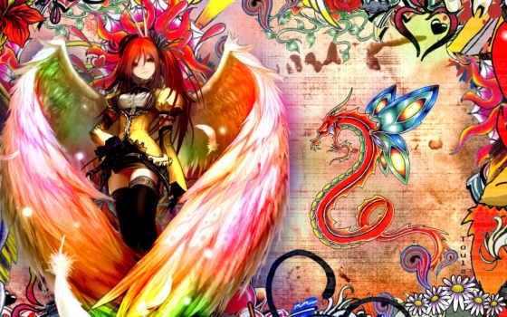 anime, девушка, angel, крыльями, дракон,