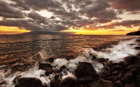 закат, море, камни Фон № 86731 разрешение 1920x1080