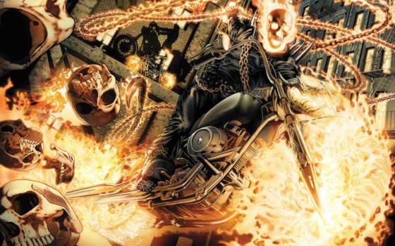 ,мотоцикл, цепь, огонь, скелет, байк, Призрачный гонщик,