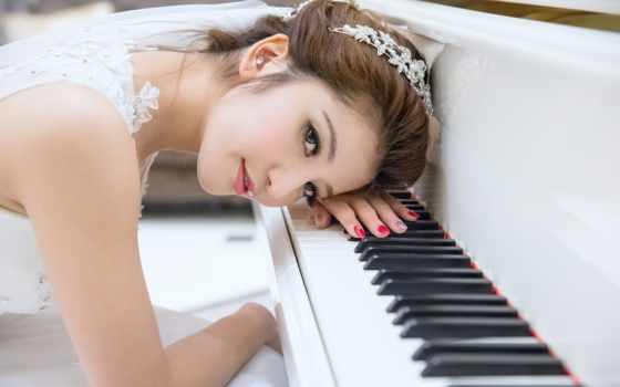 музыка, девушка, высоком, радио, азиатская, piano, текстуры, wydminy, белому,