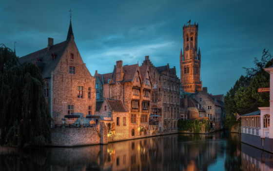 бельгия, брюгге, бельгии, природа, сказ, средневековая,