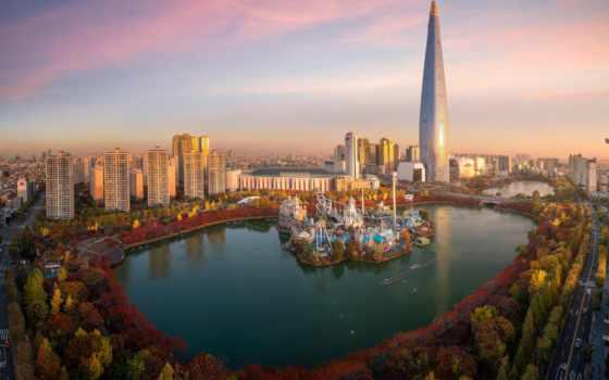 осень, сеул, город, park, korea, photos, tapety, landscape, south,