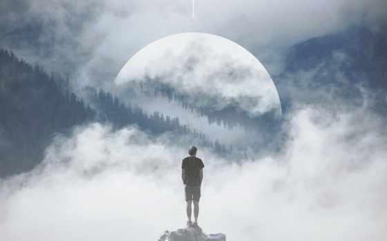 гора, мужчина, rock, manipulation, фон, stand, sculpture