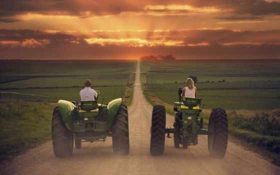трактор, дорога, margin, трактора, поле, путь, закат,