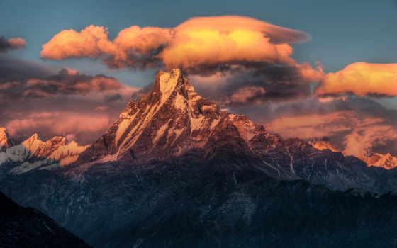 горы, nepal, oblaka, гималаи, снег, top, закат, небо, peak, природа, гряда,