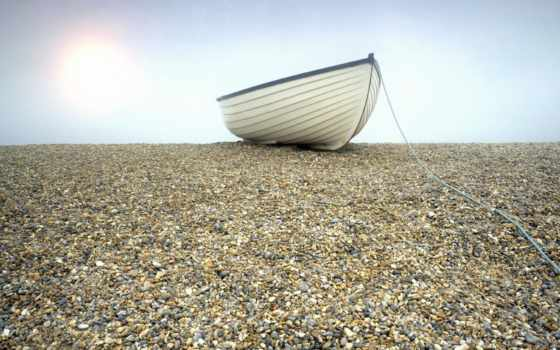 лодка, берег, sun, дек, веревка, свет, галька, камни,