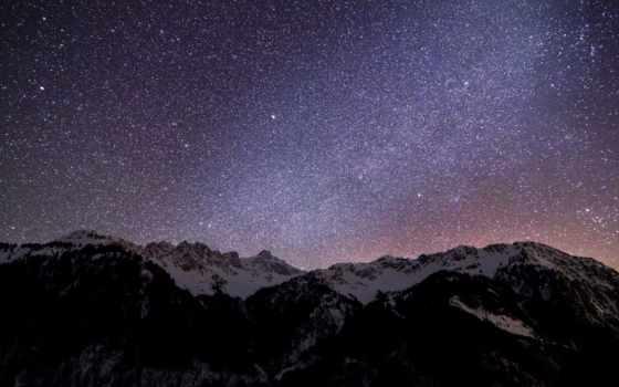 небо, ночь, звезды, alcatel, под, старину, oblaka, со,
