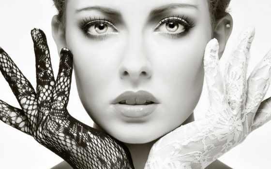 чёрно, белое, девушка, лицо, белые,