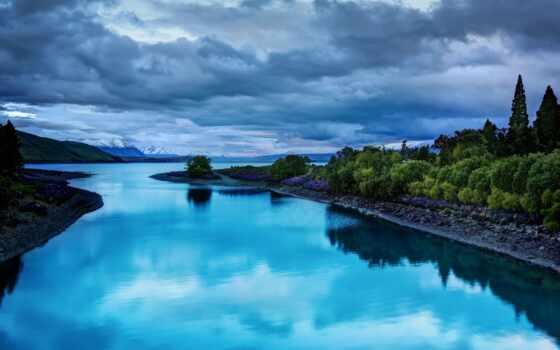 отражение, палуба, zealand, new, national, park, id, озеро