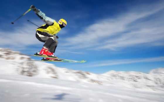 лыжник, снег