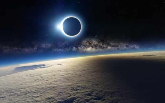 затмение, космос, солнечное, луна, облака, solar, земля, блик, note, galaxy, samsung,