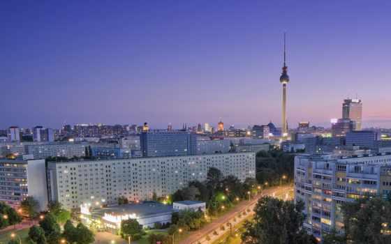 berlin, город, дома, германия, взгляд, дороги, вид, первую,
