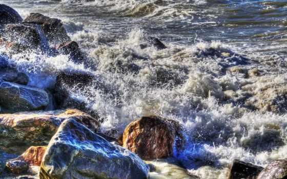 море, брызги, surf, камни, waves, скалы, пенка, картинка, ipad, девушка,