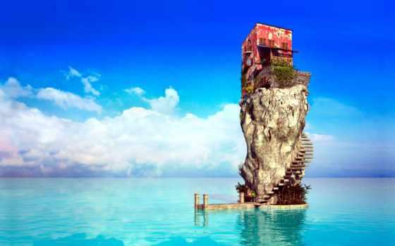 house, лестница, скале, ocean, rock, pinme, картинка,
