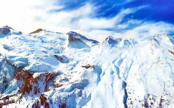 горы, снег, mountains, winter, природа, снега, пейзажи -, зимние, небо,