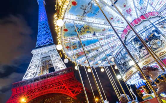 eiffel, башня, париж, франция, carousel, картинка, плакат,