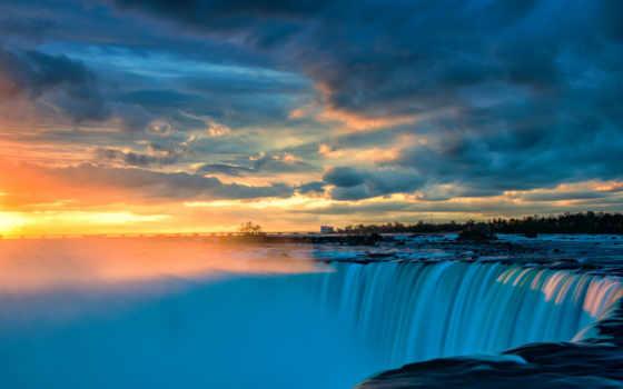 восход, закат, falls, природа, niagara, landscape, free, waterfalls,
