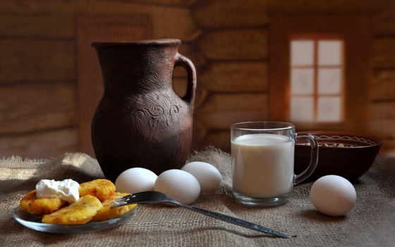 еда, натюрморт, яйца, фрукты, milk, ягоды, картинка, fork,