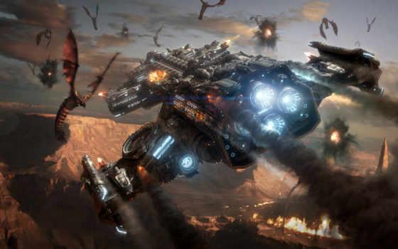 starcraft, крейсер, линейный, зерги, hyperion, полет, существа, крылья, планета, корабль, поверхность, zerg, battlecruiser, full, игры, смотрите, sc, games, vehicles, картинка, spaceships,