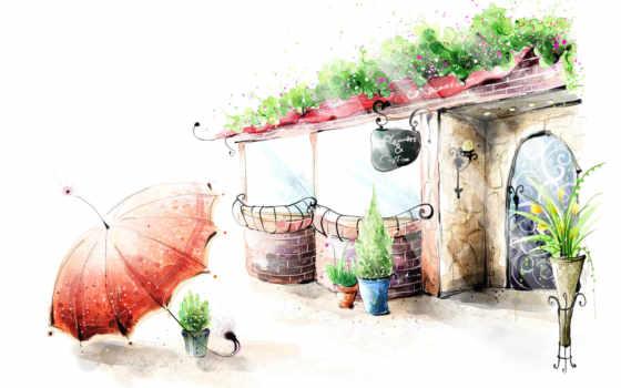 рисунок, цветы, кафе