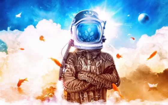космонавт, небо, шлем