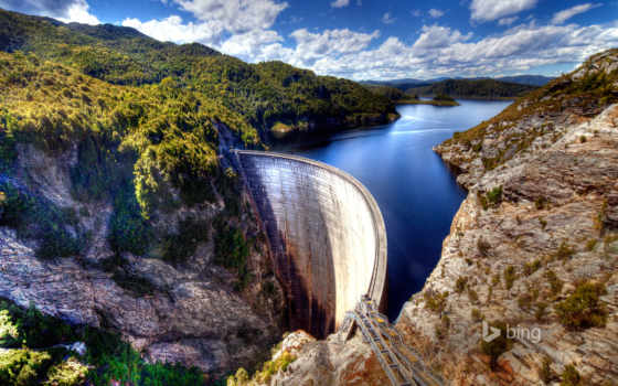 австралия, tasmania, пейзажи -, dam, gordon, prints, озеро,