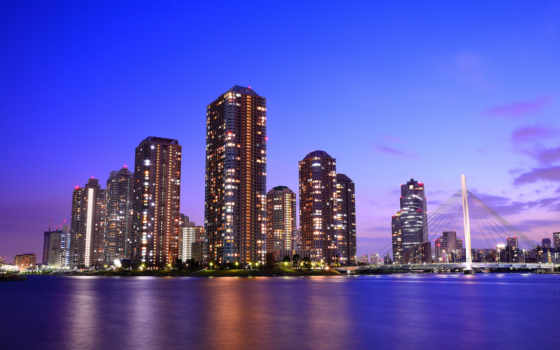 tokio, japanese, столица, мегаполис, вечер, небоскребы, мост, дома,