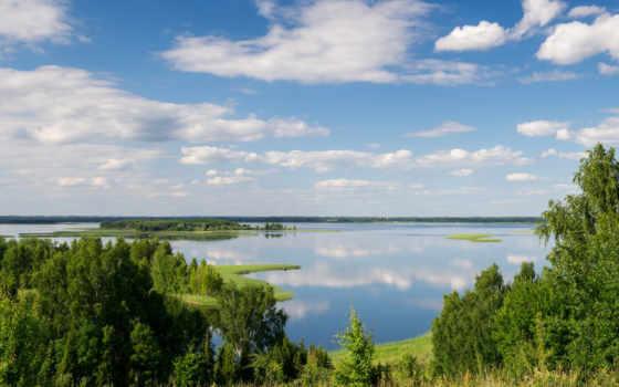 латвийский, природа, латвии, озеро, природы, небо, snudy, oblaka, art, где,