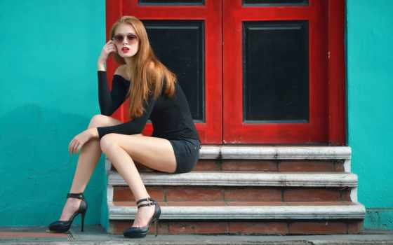 legs, simple, фон, heels, redhead, babes, high, miscellaneous, фото,