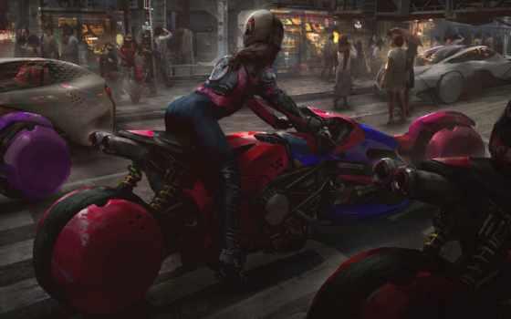 девушка, мотоцикт