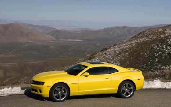 скачать, chevrolet, camaro, side, yellow, pose, near,