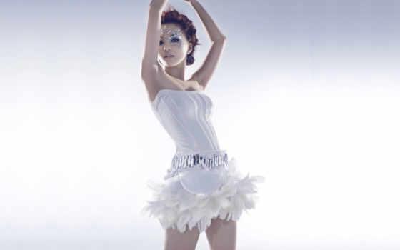 балерина, перья, girl, стразы, белое,