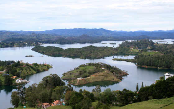 guatape, colombia, сверху, пейзаж, вид, река,