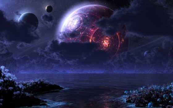 море, ночь, луна