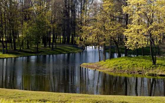 красивые, природа, только, озеро, park, пруд, заставки, осень, stunningly, красивая, trees,