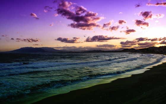 сиреневый, закат, природа, пляж, море, страница, пейзажи -, cosmos,