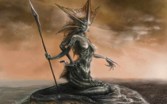 siren, art, нага, fantasy, море, spear, tail, существа, cheap,