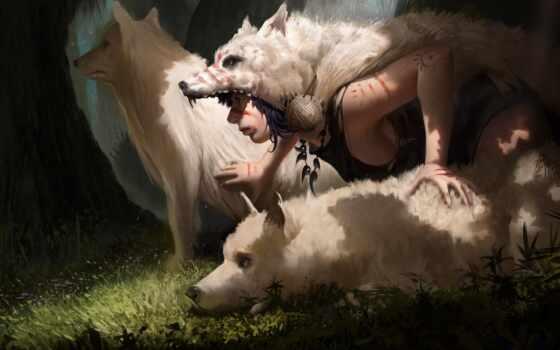 принцесса, mononoke, anim, волк, sana, canvas, inx, девушка, молодой, женщина