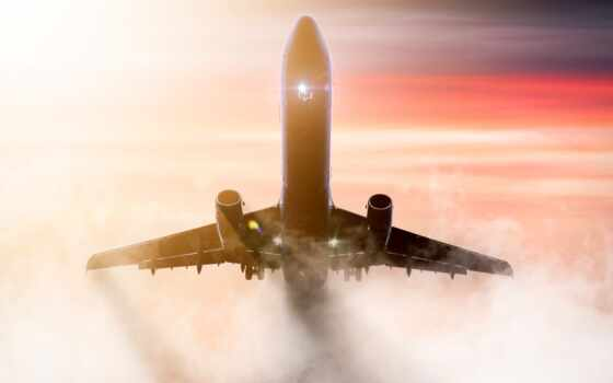 ,туман, самолет, airplane, большой,